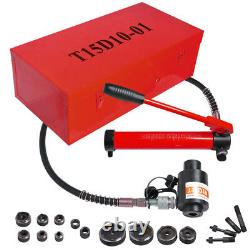 15 Ton 4 Hydraulic Punch Driver Kit 10 Dies Hole Case 11 14 Gauge Tool