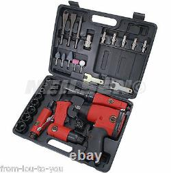 1/2 Dr Air Tool Kit in Case ratchet impact wrench die grinder hammer sockets