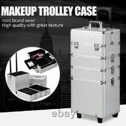 4 in1 Professional Aluminum Rolling Makeup Train Case Wheel Cosmetic Box Drawer