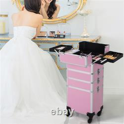 4 in 1 Professional Makeup Case Rolling Cosmetic Train Case Box Lock Large Case
