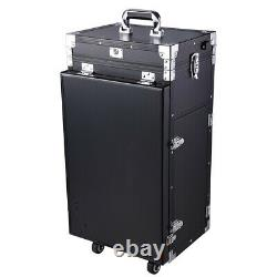 Aluminum Rolling Makeup Train Case Table Travel Trolley Cosmetic Organizer Box