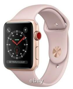Apple Watch Series 3 38mm Gold Case Pink Sand Sport Band GPS + Cellular Watch