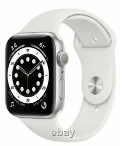 Apple Watch Series 6 44mm Silver Case White Sport Band (GPS) PRISTINE IN BOX
