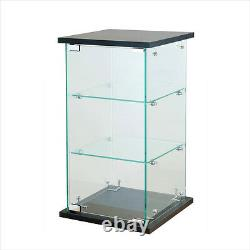 Black Tower Glass Display Case Counter Top Showcase Fixture with Lock 24 H x 13