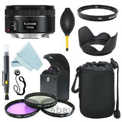 Canon EF 50mm f/1.8 STM Lens + Lens Hood + Filter Kit + Case + Accessory Kit