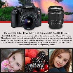 Canon Rebel T7 DSLR Camera +18-55mm Lens Kit and Carrying Case, Creative Filters