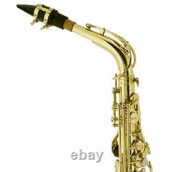 MENDINI GOLD LACQUER BRASS Eb ALTO SAXOPHONE SAX With TUNER, CASE, CAREKIT, 11 REEDS