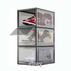 Magnetic Shoe Storage Box Drop Side Front Sneaker Case Stackable Container ForAJ