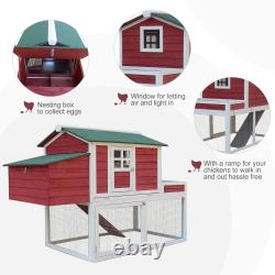Mahogany Farmhouse Style Chicken Hutch with Spacious Run Area & Egg Case Red