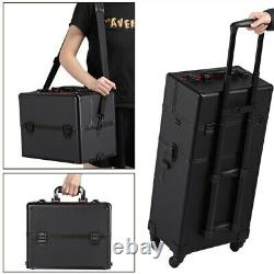 Makeup Train Case Professional Cosmetic Travel Rolling Vanity Organizer Trolley
