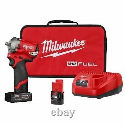 Milwaukee 2554-22 M12 FUEL Stubby 3/8 Impact Wrench Kit with4Ah & 2Ah Batteries