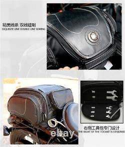 Motorcycle Bike Tail Seat Bag Luggage Helmet Pack Case PU leather with Water Cover