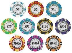 New 600 Monte Carlo 14g Clay Poker Chips Set with Acrylic Case Pick Chips