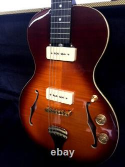 New 6 String Little Sister Style Flame Semi Hollow Electric Guitar + Tweed Case