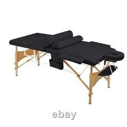 New 84L Massage Table 3 Fold Portable Facial Bed With Sheet Bolsters Carry Case
