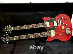 New Ebs 1250 Style 4/6 Double Neck Trans Red Electric Guitar-case Included