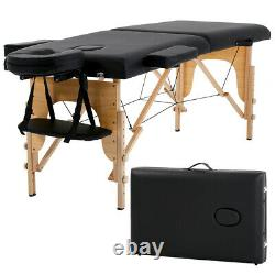 New Massage Table Spa Bed 73 Long Portable 2 Folding With Carry Case Black