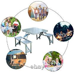 New Outdoor Portable Folding Aluminum Picnic Table 4 Seats Chairs Camping withCase