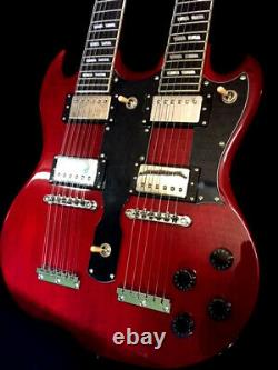 New Sg Style 12/6 String Double Neck Tran Red Solid Electric Guitar & Hard Case