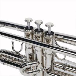 New Silver Student Concert Bb Golden Trumpet with Case Mouthpiece for Beginner