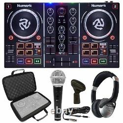 Numark Party Mix DJ Controller with Built In Light Show+Case+Headphones+Microphone