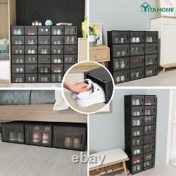 YITAHOME 12Pcs Shoe Box Storage Organizer Stackable Sneaker Case Container Black